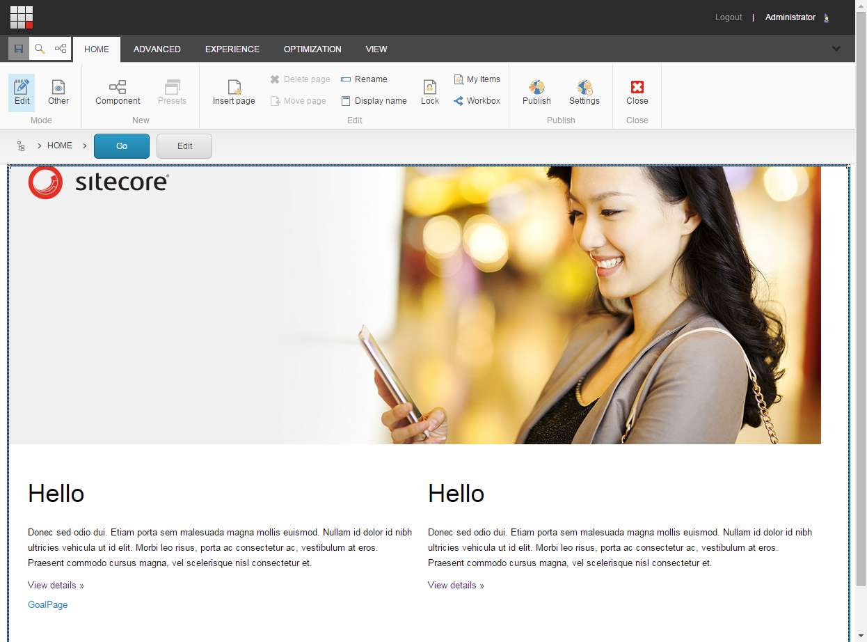 screen grab of experience editor wysiwyg sitecore